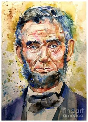 Abraham Lincoln Watercolor Art Print