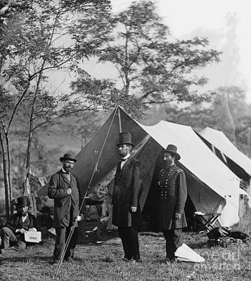 Antietam Photograph - Abraham Lincoln With Allan Pinkerton And Major General Mcclernand At Antietam, 1862 by Alexander Gardner
