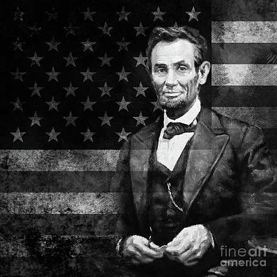 Painting - Abraham Lincoln With American Flag  by Gull G