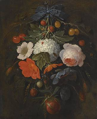 Including Painting - Abraham Mignon,  A Festoon Of Flowers And Fruit, Including A Pink Rose, A Poppy, A Snowball, Goosebe by Celestial Images