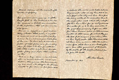 Photograph - Abreham Lincoln's Gettysburg Address by Jack R Perry