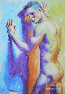 Painting - Abrstract Watercolor Painting Male Nude #17-1-3 by Hongtao Huang