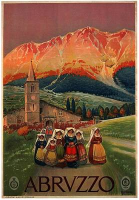 Royalty-Free and Rights-Managed Images - Abruzzo, Italy - Church, Mountains - Retro travel Poster - Vintage Poster by Studio Grafiikka