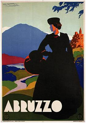 Mixed Media - Abruzzo, Italy - Girl In Black Gown - Retro Travel Poster - Vintage Poster by Studio Grafiikka