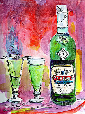 Absinthe Painting - Absinthe Bottle And Glasses Watercolor By Ginette by Ginette Callaway