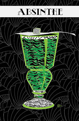 Stylized Beverage Mixed Media - Absinthe Cocktail Art Deco Swing by Cecely Bloom