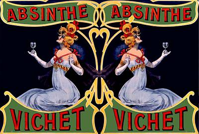 Digital Art - Absinthe Lady Ad by Marianne Dow