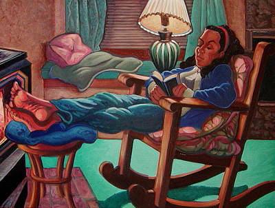 Woman In Rocking Chair Painting - Absorbed by Karen Fulk