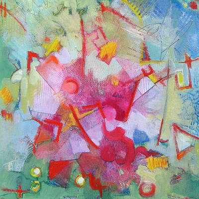 Abstract 2 With Inscribed Red Art Print by Susanne Clark