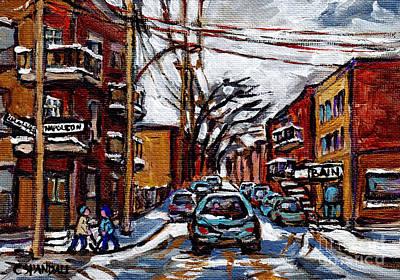 Montreal Memories. Painting - Plateau Mont Royal Scenes De Rue De Montreal En Hiver Rue Napoleon Petit Format A Vendre by Carole Spandau
