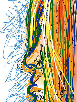 Abstract Digital Drawing - Abstract 44 Profile Of A Woman by Robert Yaeger
