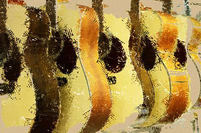 Abstract Acoustic Guitars Art Print by David G Paul