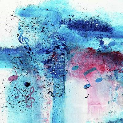 Painting - Abstract Acrylic Painting Music Notes II by Saribelle Rodriguez