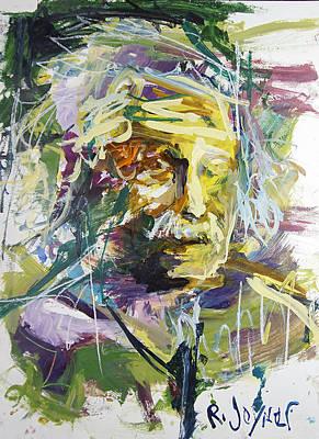 Painting - Abstract Albert Einstein Portrait by Robert Joyner