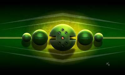 Digital Art - Abstract Alien Spheres by John Wills