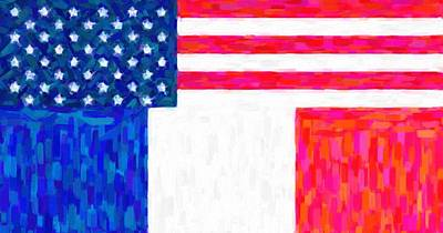 Abstract American Flag Painting - Abstract American French Flag by Celestial Images
