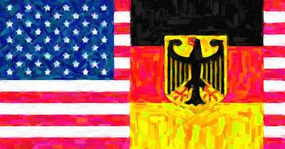 Abstract American Flag Painting - Abstract  American German Flag 2 by Celestial Images