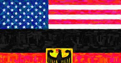 Abstract American Flag Painting - Abstract  American German Flag by Celestial Images