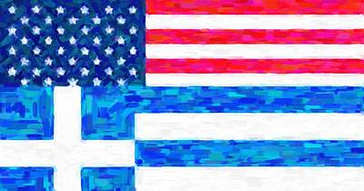 Abstract American Flag Painting - Abstract American Greek Flag by Celestial Images