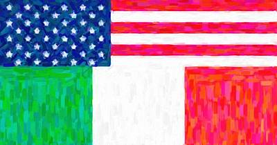 Abstract American Flag Painting - Abstract  American Italian Flag by Celestial Images
