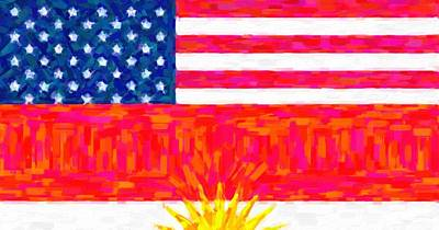 Abstract American Flag Painting - Abstract American Kurdish Flag by Celestial Images