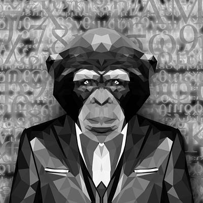 Matrix Code Digital Art - Abstract Ape 2 by Gallini Design