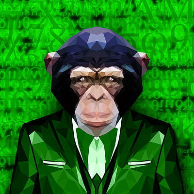 Matrix Code Digital Art - Abstract Ape by Gallini Design