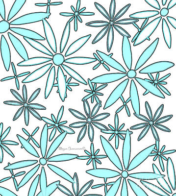 Abstract Aqua White Daisy Flower Pattern Floral Fiesta 3 By Megan Duncanson Art Print