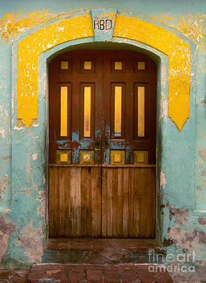 abstract architecture photograph - Door with Yellow Bars Art Print