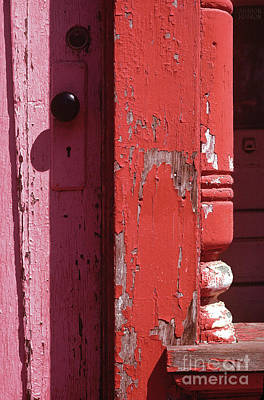Photograph - abstract architecture - Red Door by Sharon Hudson