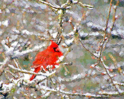 Painting - Abstract Art - Cardinal In The Snow by Kerri Farley
