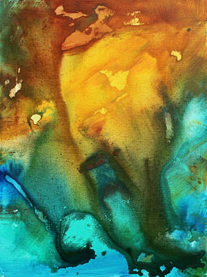 Abstract Art Colorful Turquoise Rust River Of Rust IIi By Madart Art Print