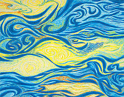 Giclee Drawing - Abstract Art Good Morning Contemporary Modern Artwork Giclee Fine Art Prints Life Cycle Swirls Water by Baslee Troutman
