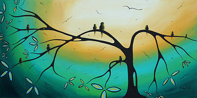 Abstract Art Landscape Bird Painting Family Perch By Madart Print by Megan Duncanson