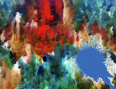 Mixed Media - Abstract Art Red Tumble Over Blue by Georgiana Romanovna