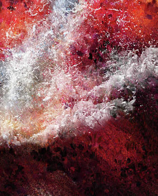 Mixed Media - Abstract Artwork Fury Of The Red Seas by Georgiana Romanovna