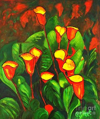 Arum Lily Painting - Abstract Arum Lilies by Caroline Street