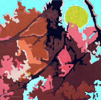Painting - Abstract Autumn Trees #8 by John Lautermilch
