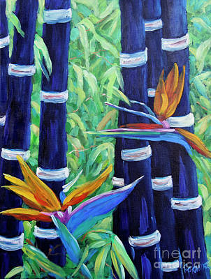 Walter Pranke Painting - Abstract Bamboo And Birds Of Paradise 04 by Richard T Pranke