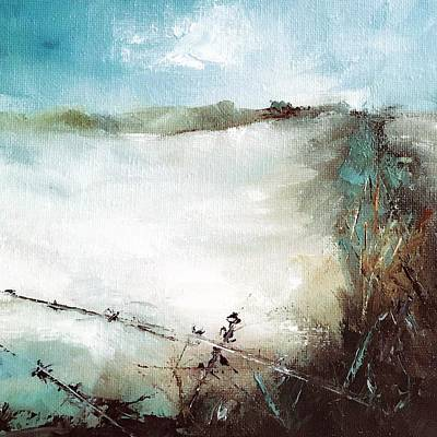 Painting - Abstract Barbwire Pasture Landscape by Michele Carter