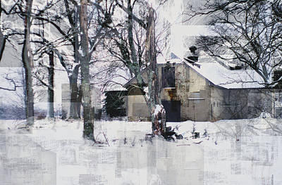 Photograph - Abstract Barn In Winter Snow by Suzanne Powers