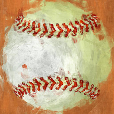 Baseball Digital Art - Abstract Baseball by David G Paul
