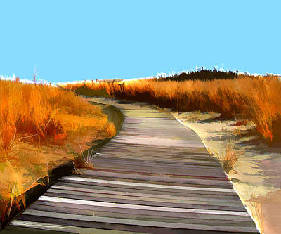Sand Dunes Painting - Abstract Beach Dune Boardwalk by Elaine Plesser