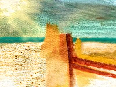 Abstract Beach Landscape Digital Art - Abstract Beach Fence by Sharon Eng