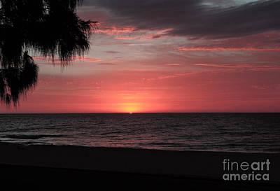 Abstract Beach Palm Tree Sunset Art Print