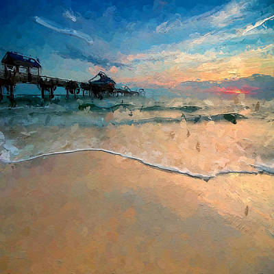 Sunset Abstract Digital Art - Abstract Beach Walk by Anthony Fishburne