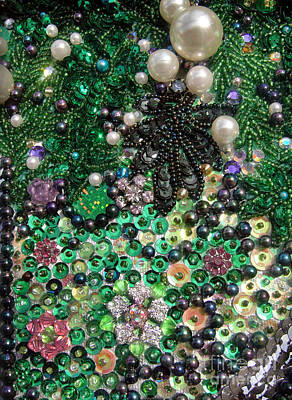 Handcrafted Jewelry Photograph - Abstract Beadwork, Sequin Bead Embroidery 11 by Sofia Metal Queen