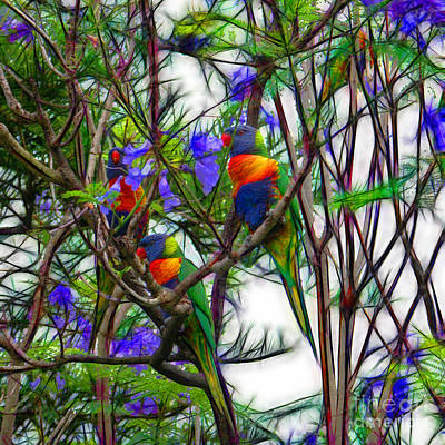 Parakeet Digital Art - Abstract Beautiful Rainbow Lorikeets by Wendy Townrow