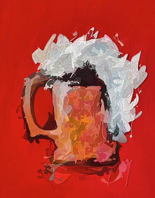 Digital Art - Abstract Beer by OLena Art Brand