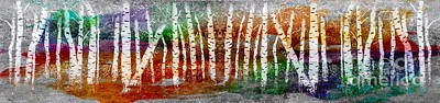 Painting - Abstract Birch Tree Forest 693016 by Mas Art Studio